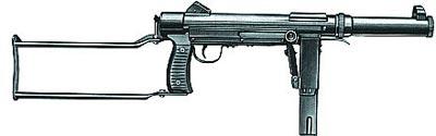 9-мм пистолет-пулемет SCK тип 66 с откинутым прикладом