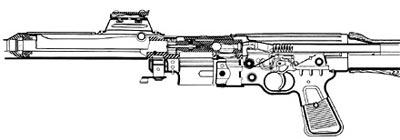 Продольный разрез (схема) автоматического карабина Walther Мкb.42 (W)