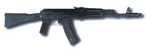 АК74М, принятый на вооружение Российской Армии в 1991 году. Этот образец послужил базой для создания «сотой» серии автоматов Калашникова