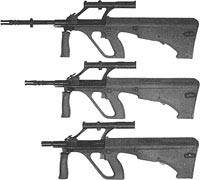 - 5,56-мм штурмовая винтовка с длиной ствола 508 мм, - 5,56-мм штурмовой карабин с длиной ствола 407 мм, - 5,56-мм карабин для воздушно-десантных войск с длиной ствола 350 мм