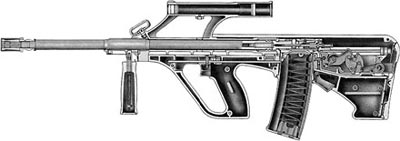 Разрез штурмовой винтовки AUG А1