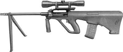 5,56-мм снайперская винтовка AUG/HBAR с оптическим прицелом на легкой съемной двуногой сошке