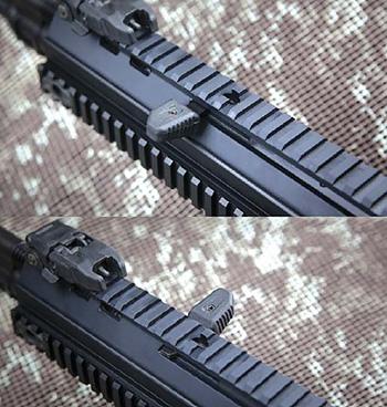 Рукоятка взведения ACR вынесена вперед, на цевье. Она легко  переставляется на другую сторону, но главное— неподвижна при выстреле,  что позволяет с комфортом управлять винтовкой из различных положений