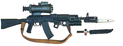 5,45-мм автомат АК 74М с ночным прицелом 1ПН51, подствольным гранатометом ГП-25 и штык-ножом 6х5