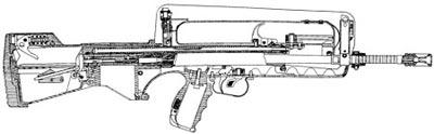 Схема 5,56-мм штурмовой винтовки FAMAS F1 (в разрезе)