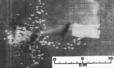 Рис. 3. Теневая фотография дробового снаряда в 3 м от дульного среза ствола после выстрела из ствола с цилиндрическим каналом