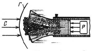 Рис. 1 Выход дробового снаряда в контейнере за дульный срез ствола: Р - давление пороховых газов на дно пыжа-контейнера; С - лобовое сопротивление воздуха; Г - головная волна (скачок уплотнения)