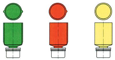 15-мм сигнальные патроны (индекс 7 С8): зеленого, красного и желтого огней