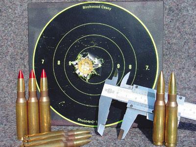 Точность 1. Пять выстрелов на дистанции 100 м из ружья Sauer 202 с использованием сошки Гарриса (Harris).