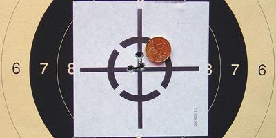 Точность 3. Пять выстрелов на дистанции 100 м из ружья Sauer 202 с сошки.