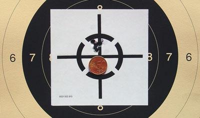 Точность 5. Три выстрела на дистанции 100 м из ружья Sauer 202 с сошки.