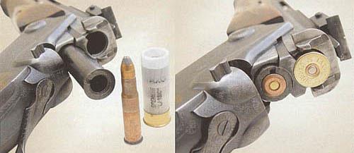 Стрельба из ружья может вестись как «гладкоствольными» пулевыми патронами, так и «нарезными», поскольку стволы укомплектованы лейнером калибра 9 мм под патрон 9x53R