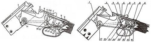 Схема ударно-спускового механизма ружья МЦ8 с одним (вверху) и двумя спусковыми крючками: 1 - стволы с муфтой, соединяющей стволы в казенной части; 2 - поперечный болт (штифт) верхнего привода запирания стволов; 3 - взводитель (толкатель) курка; 4 - рычаг (ключ) привода запирающего механизма; 5 -коромысло (поперечина) взводящего механизма; 6 - тяга, действующая на запирающее (предохранительное) устройство ударно-спускового механизма; 7 - курок (левый); 8 - кнопка предохранителя; 9 - предохранитель, запирающий спусковые рычаги; 10 - боевая пружина, двуперая вилкообразная; 11 - пружина спускового механизма четырехпалая, действующая на спусковые крючки и спусковые рычаги; 12 - задний спусковой крючок; 13 - передний спусковой крючок; 14 - спусковой рычаг с шепталом левого курка; 15 - клиновидная рамка запирания; 16 - толкатель левый; 17 - ось шарнира, на которой качаются стволы при открывании