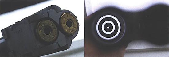 Гильзы без «жавело», вставленные в патронник, позволяют получить контрастные кольца при взгляде со стороны дула