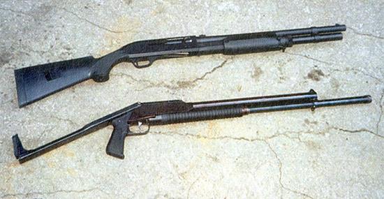 Боевое ружье М3 Super 90 итальянской фирмы  Benelli и отечественное «Рысь-Ф». При близких габаритах ствол  отечественного ружья несколько длиннее