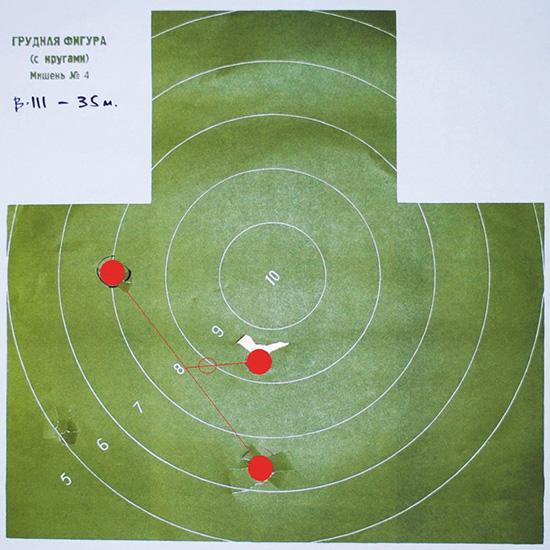 Пуля, дистанция 35 м, верхний ствол (получок)
