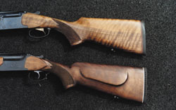 Приклады тестируемых ружей: сверху - ствол МР-233, снизу - ствол ТОЗ 120