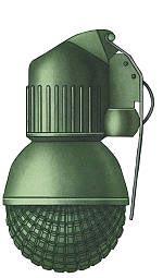 Общий вид снаряженной ручной гранаты оборонительной РГО