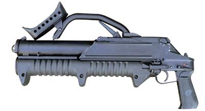 43-мм магазинный гранатомет ГМ-94 сосложенным плечевым упором(вид слева)