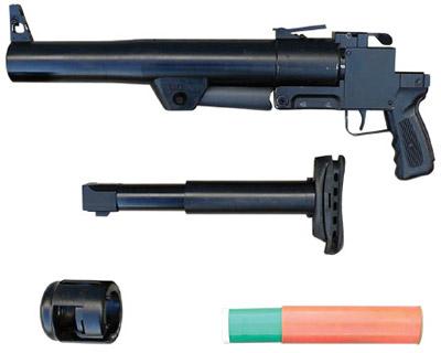 Ручной гранатомет РГС-50М сдемонтированным  гидропружинным тормозом отдачи, составляющим единый узел сплечевым  упором трубчатого типа; надульным устройством ивыстрелом ГС-50ПМ
