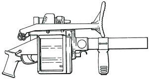 40-мм ручной гранатомет ARMSCOR MGL 6 (в походном положении). ЮАР