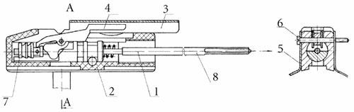 Схема ударного механизма РПГ-26 «Аглень»: 1 - механизм ударный, 2 - корпус, 3 - стойка, 4 - шептало, 5 - хомут, 6 - ось взводителя, 7 - упор, 8 - боёк