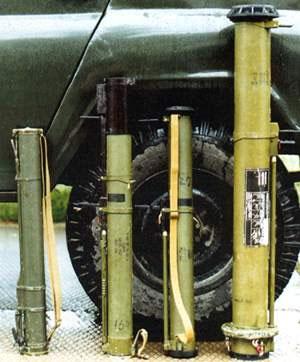 Реактивные противотанковые гранаты (слева направо): РПГ-18 «Муха», РПГ-22 «Нетто», РПГ-26 «Аглень», РПГ-27 «Таволга»