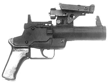 Опытный подствольный гранатомёт «Искра». Вид справа