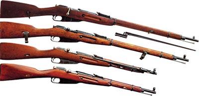 - 7,62-мм пехотная винтовка Мосина образца 1891 года - 7,62-мм винтовка Мосина образца 1891/30 годов - 7,62-мм карабин образца 1944 года - 7,62-мм карабин образца 1938 года