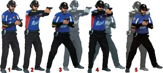 1 - Начало упражнения. Пистолет на уровне груди; 2 - Пистолет на мишени. Стрелок имитирует выстрел; 3 - Стрелок делает полшага вправо, подтягивает пистолет к груди и убирает палец со спускового крючка; 4 - Принимая стойку, стрелок наводит пистолет на мишень и имитирует выстрел; 5 - Не останавливаясь, стрелок делает полшага влево. Одновременно подтягивает пистолет к груди.