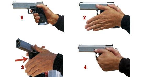 1 - При двойном хвате пистолета сильная рука плотно удерживает рукоятку, указательный палец касается спускового крючка последней фалангой; 2 - Кисть слабой руки сгибается вниз под углом 45° к предплечью и обхватывает кисть сильной руки; 3 - При формировании хвата третья фаланга указательного пальца слабой руки должна плотно упираться в нижнюю часть скобы спускового крючка; 4 - Пальцы слабой руки должны плотно удерживать рукоятку и закреплять хват сильной руки.