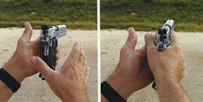 Передача пистолета из слабой руки в сильную