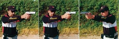 При широком переносе первой поворачивается голова, затем корпус с пистолетом