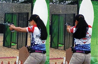 Спортсменка переносит оружие с мишени на мишень, оставляя верхнюю часть корпуса неизменной. Чемпионат мира, Эквадор, 2005 г.