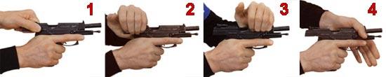 Досылание патрона в патронник: 1 - первым способом; 2 - вторым способом; 3 - третьим способом; 4 - четвертым способом.