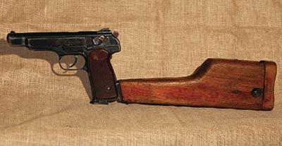 9-мм автоматический пистолет АПС. Темп стрельбы - 600 выстр/мин; практическая скорострельность - одиночным огнем - 40 выстр/мин, автоматическим - 90 выстр/мин