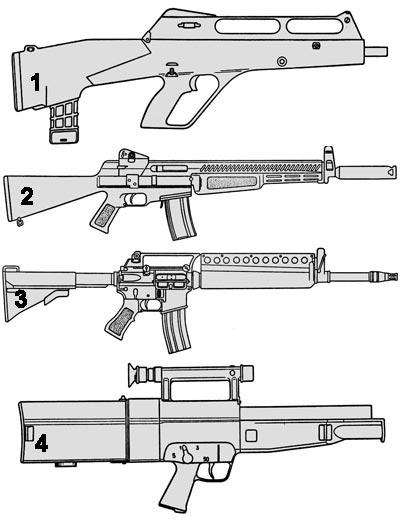 Образцы оружия ACR, проходившие испытания в Форт-Беннинге в 1989 г: 1 - Образец фирмы Steyr Manlicher; 2 - Образец фирмы AAI (ХМ19/ХМ70); 3 - Образец фирмы Colt на базе М16А2; 4 - Винтовка G11 фирмы «Хеклер унд Кох».