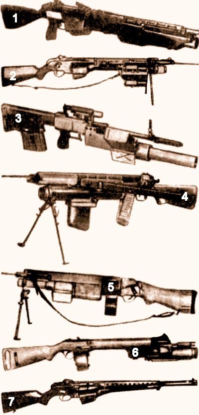 Ранние образцы оружия: 1 - Первый образец фирмы AAI; 2 - Второй образец фирмы AAI; 3 - Первый образец Спрингфилдского арсенала; 4 - Второй образец Спрингфилдского арсенала; 5 - Образец фирмы «Харингтон и Ричардсон»; 6 - Образец фирмы «Олин-Винчестер»; 7 - Один из последних образцов оружия, использующий боеприпас со стреловидным поражающим элементом фирмы AAI, выполненный в рамках программы SPIW.