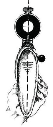 Схема показывает, что при прицеливании вертикальная нить прицела должна быть расположена действительно вертикально. Иногда стрелок наклоняет оружие вдоль оси ствола вправо или влево. Происходит так называемое сваливание винтовки, которое ведет к ощутимому отклонению пули от точки прицеливания. Для ведения стрельбы снайперу нужно как можно точнее определить расстояние до цели. В расчетах помогает знание о примерных габаритах различных объектов.