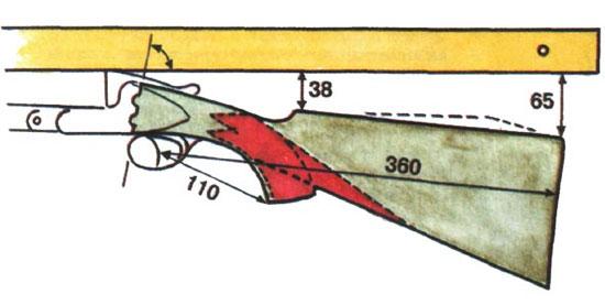Положив линейку на прицельную планку, надо уложить контур ложи так, чтобы от линейки до пятки затыльника было 65мм. Красным обозначены поверхности, на которые наносится насечка при наличии пистолетного выступа и без него