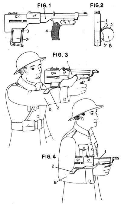 рисунок пистолета-пулемета конструкции Анри Делакра (Франция, 1936)