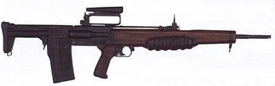 Экспериментальный английский автомат ЕМ-2 разработки Энфильдского арсенала калибра .280 (7х43 мм), 1951 год. ЕМ-2 даже был официально принят на вооружение, но в серийное производство так и не пошел
