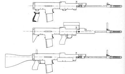Рисунок раннего варианта винтовки SPIW конструкции Спрингфильдского арсенала, показывающий возможность ее конвертации в обычный вариант либо в вариант буллпап.