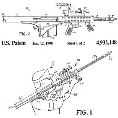 Рисунки 12.7-мм винтовки Barrett M82A2
