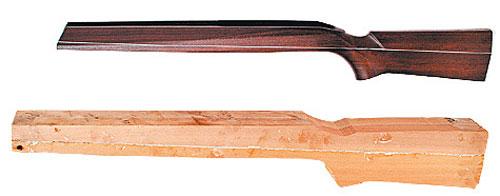 Разрезанная на четвертинки и склеенная со вставкой дюралевых пластин заготовка для ложи спортивной винтовки на разных стадиях обработки.