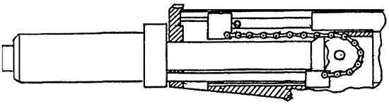 Рис. 2. Устройство возвратно-поступательного механизма с использованием цепи
