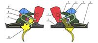 1. Механизм ТОЗ-57-1С: 1 - курок, 2-личинка, 3 - шептало, 4 - спусковой рычаг (левый), 5 - переводчик, 6 - пружина шептала, 7 - инерционный разобщитель, 8 - пружина боевая, 9 - пружина переводчика, 10 - спусковой крючок (правый)