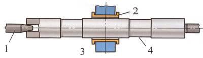 Проточка шеек для люнетов: 1 - центр, 2 - скользящая муфта, 3 - стойка, 4 - шейка для люнета