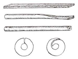Стадии сворачивания трубки простого ствола. Вверху - пластина-заготовка для ствола