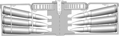 Схема отъемного трехрядного дискового магазина к танковому пулемету Дегтярева ДТ емкостью 63 патрона